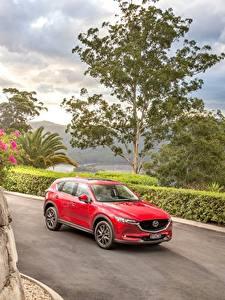 Hintergrundbilder Mazda Rot Metallisch 2017 CX-5 Akera Autos