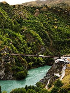 Bilder Neuseeland Fluss Brücke Felsen Queenstown