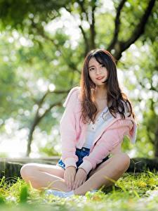Bilder Asiaten Gras Unscharfer Hintergrund Braune Haare Sitzt Lächeln Hand junge frau