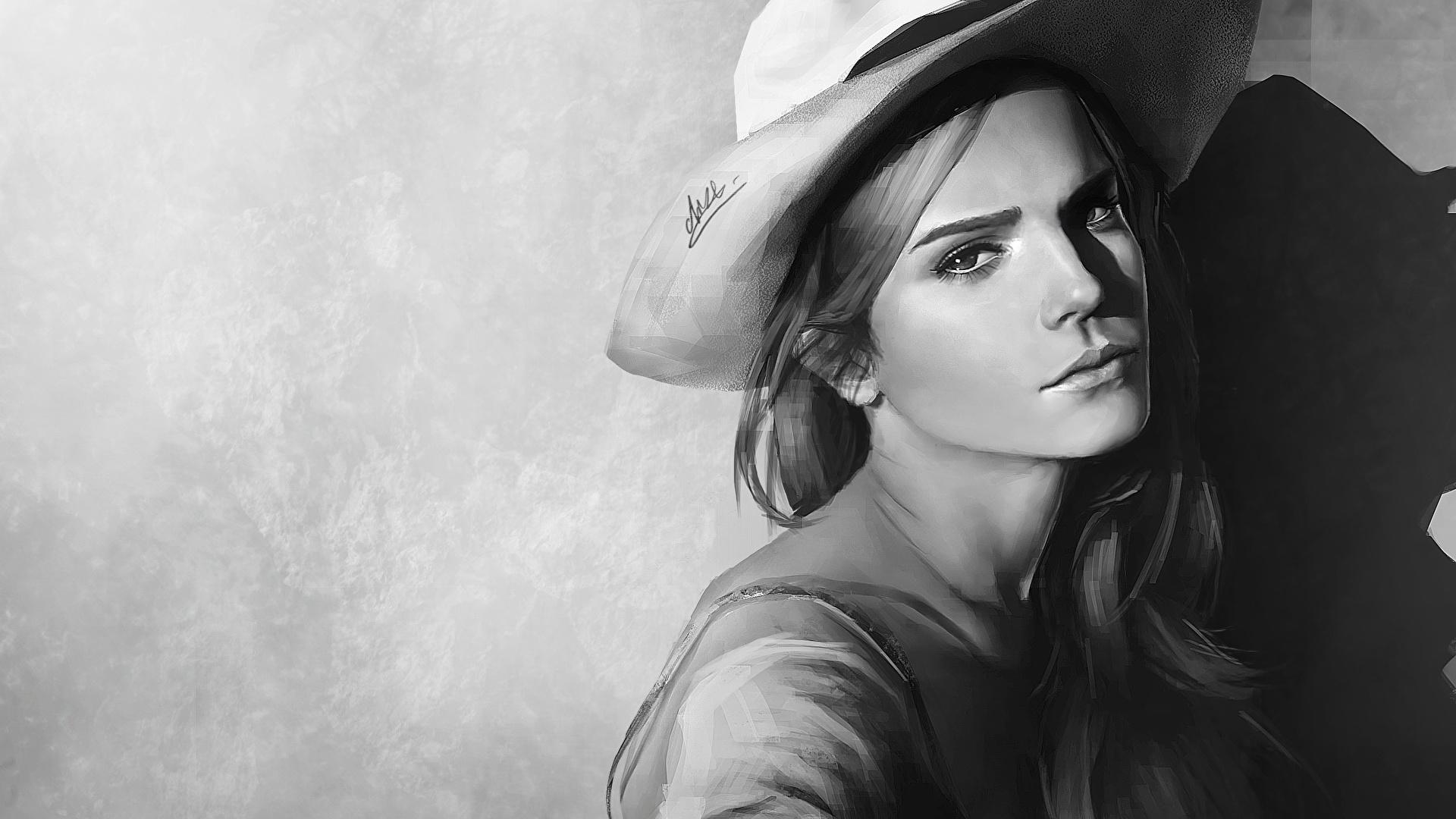 壁紙 1920x1080 エマ ワトソン 描かれた壁紙 白黒 帽子 凝視