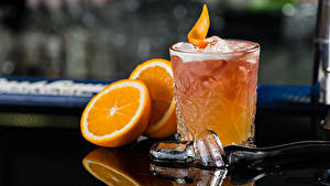 Fotos Cocktail Alkoholische Getränke Orange Frucht Trinkglas Eis