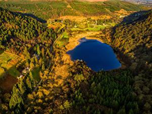 Fotos Irland Park See Wälder Straße Von oben Glendalough Wicklow Mountains National Park Natur