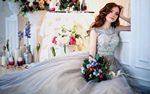 Bilder Sträuße Braunhaarige Trauung Kleid