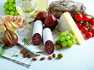 Wallpapers Still-life Sausage Cheese Tomatoes Pears Grapes Nuts Food