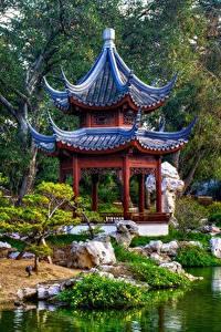 Fotos Pagoden Park Garten Vereinigte Staaten Kalifornien Japanisch San Marino Natur