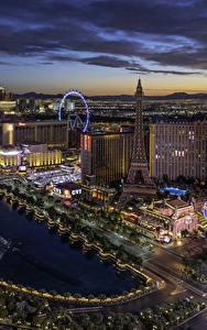 Bilder USA Gebäude Abend Las Vegas Von oben Städte