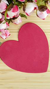 Hintergrundbilder Valentinstag Pfingstrosen Bretter Herz Blumen