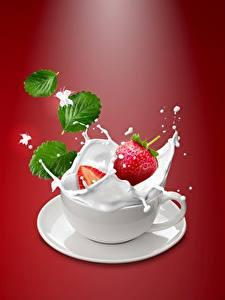 Hintergrundbilder Beere Erdbeeren Milch Tasse Spritzwasser