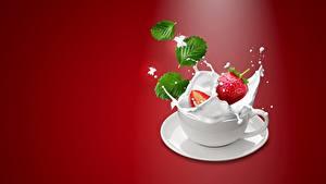 Hintergrundbilder Beere Erdbeeren Milch Tasse Spritzwasser Lebensmittel