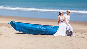 Bilder Meer Boot 2 Braut Bräutigam Hochzeit Strände Mädchens