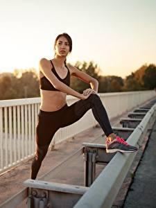 Fotos Sonnenaufgänge und Sonnenuntergänge Fitness Zaun Hand Bein Dehnübungen Posiert Mädchens