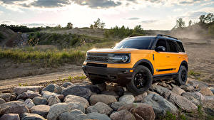 Hintergrundbilder Ford Steine Sport Utility Vehicle Gelb Bronco Sport First Edition Preproduction, 2020 Autos