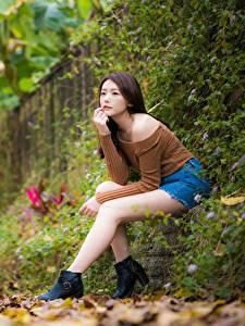 Fotos Asiaten Unscharfer Hintergrund Sitzt Bein Blatt Braune Haare junge frau