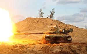 壁纸、、戦車、T-72、発射、ロシアの、陸軍