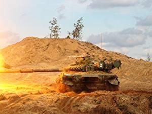 Hintergrundbilder Panzer T-72 Schuss Russische Heer