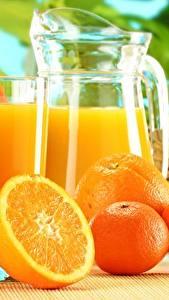 Fotos Apfelsine Mandarine Saft Trinkglas Kanne Lebensmittel