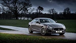 Hintergrundbilder Maserati Graue Metallisch 2013-17 Ghibli Autos
