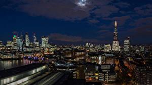 Desktop hintergrundbilder England Haus Himmel London Nacht Mond Städte