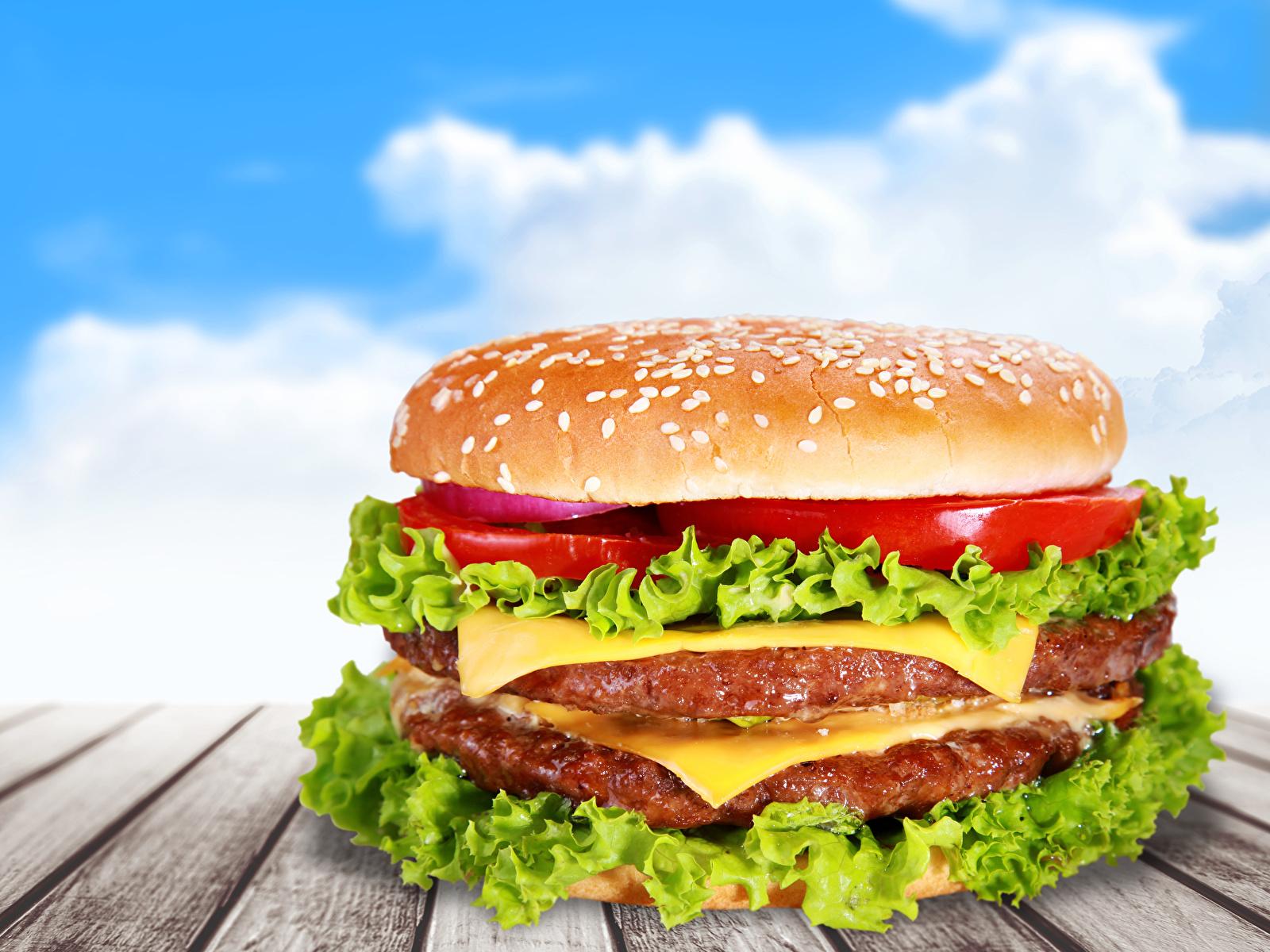 Fotos Hamburger Fast food Gemüse Lebensmittel Bretter 1600x1200 Burger