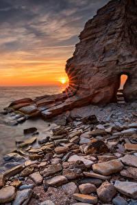 Bilder Bulgarien Küste Morgendämmerung und Sonnenuntergang Steine Felsen Black Sea coast