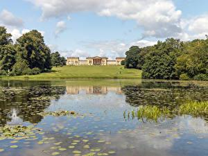 Hintergrundbilder England See Haus Parks Rasen Bäume Octagon Lake