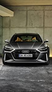 桌面壁纸,,奥迪,正面圖,灰色,旅行車,2020 2019 V8 Twin-Turbo RS6 Avant,汽车