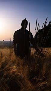 Fotos Sonnenaufgänge und Sonnenuntergänge Felder Mann Silhouette