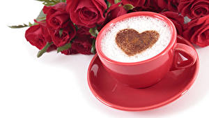 Wallpapers Valentine's Day Coffee Cappuccino Roses White background Cup Foam Heart Red Flowers