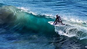 Wallpaper Waves Surfing Men athletic
