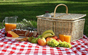 Pictures Juice Grapes Apples Cheese Bread Bananas Pears Picnic Wicker basket Highball glass Pitcher Food