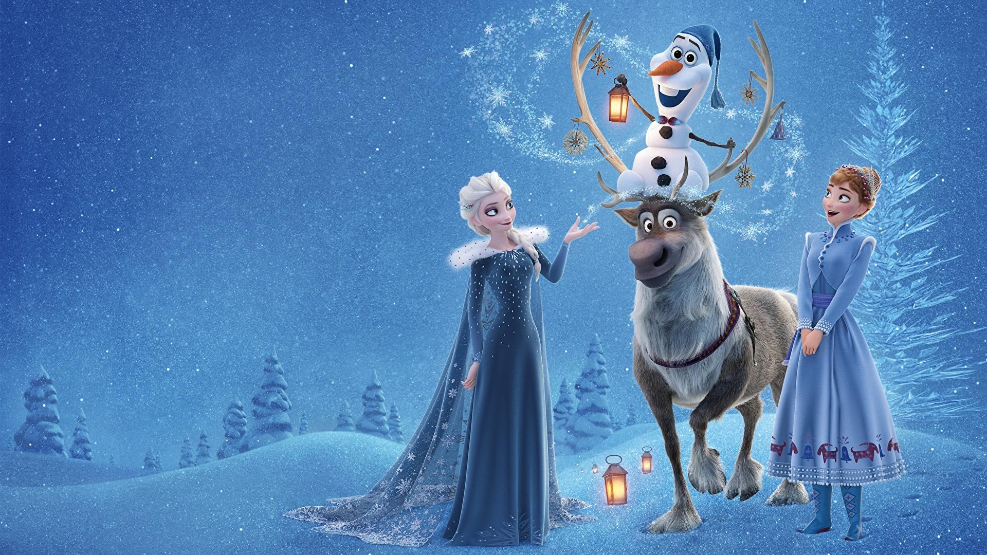 壁紙 19x1080 アナと雪の女王 シカ Elsa Olaf Anna 漫画 少女 ダウンロード 写真