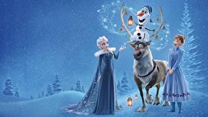 Fotos Die Eiskönigin – Völlig unverfroren Hirsche Elsa, Olaf, Anna Mädchens