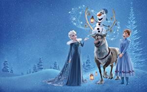 Fonds d'écran La Reine des neiges film 2013 Cervidés Elsa, Olaf, Anna Filles
