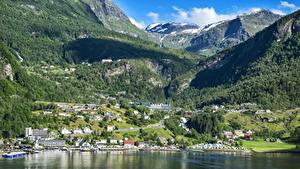 Images Norway Mountains Forests Building Scenery Bergen Snow Bergen, North sea Cities