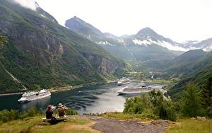 Images Ships Cruise liner Mountains Norway Bench Grass Sitting Geirangen, Fjord Nature