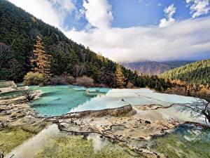 Bilder China Gebirge Herbst Wälder Landschaftsfotografie Huanglong, Sichuan Natur
