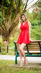 Fotos Asiaten Bank (Möbel) Kleid Rot Bein junge frau