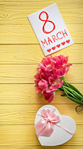 Hintergrundbilder Feiertage 8 März Tulpen Bretter Englischer Geschenke Schleife Blumen