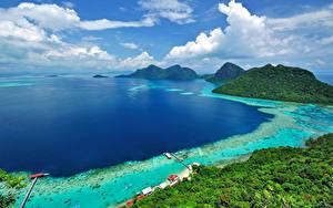 Hintergrundbilder Malaysia Küste Tropen Landschaftsfotografie Bucht Hügel Borneo Island (Kalimantan)