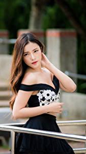 Papel de Parede Desktop Asiática Fundo desfocado Posando Vestido Mão Cabelo castanho Ver Lindo jovem mulher