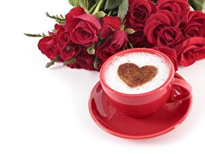 Images Coffee Cappuccino Valentine's Day Heart Cup Saucer White background