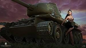 Fotos T-34 WOT Nikita Bolyakov Russische Spiele Mädchens