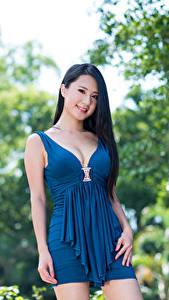 Hintergrundbilder Asiaten Unscharfer Hintergrund Brünette Blick Lächeln Dekolletee Kleid Hand