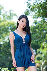 Hintergrundbilder Asiaten Unscharfer Hintergrund Brünette Blick Lächeln Dekolletee Kleid Hand Mädchens