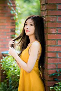 Hintergrundbilder Asiatische Unscharfer Hintergrund Kleid Hand Braune Haare junge frau