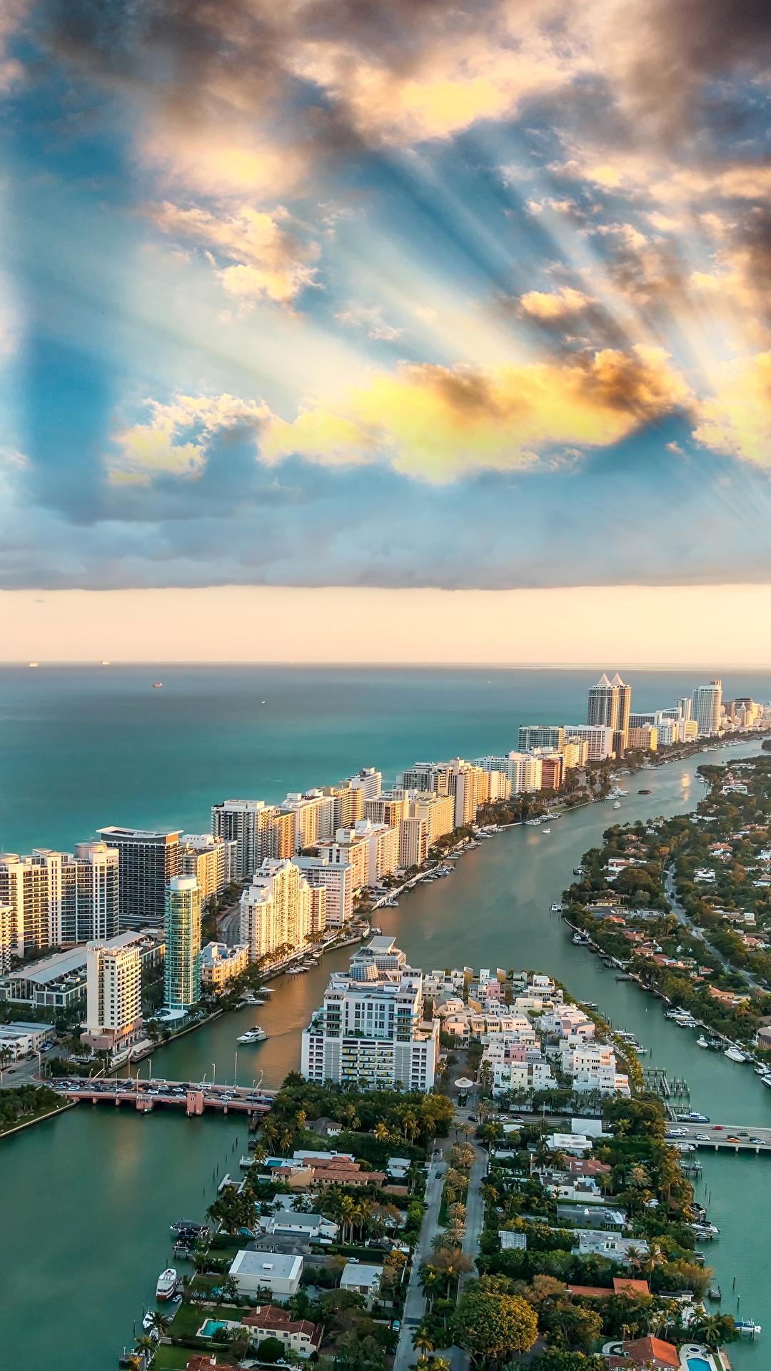 Foto Miami Florida USA Ozean Himmel Küste Von oben Wolke Städte Gebäude 1080x1920 für Handy Vereinigte Staaten Haus