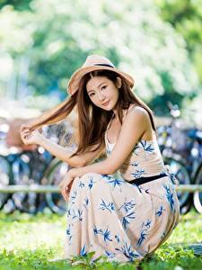 Bilder Asiaten Gras Kleid Der Hut Sitzen Unscharfer Hintergrund Braune Haare Hand junge Frauen