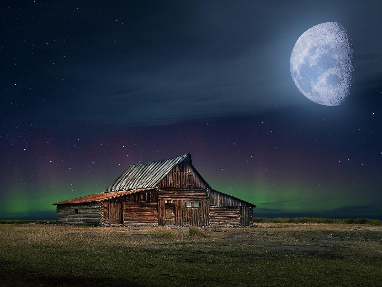 1600x1200 Casa Lua Noite De madeira Aurora polar Edifício Naturaleza