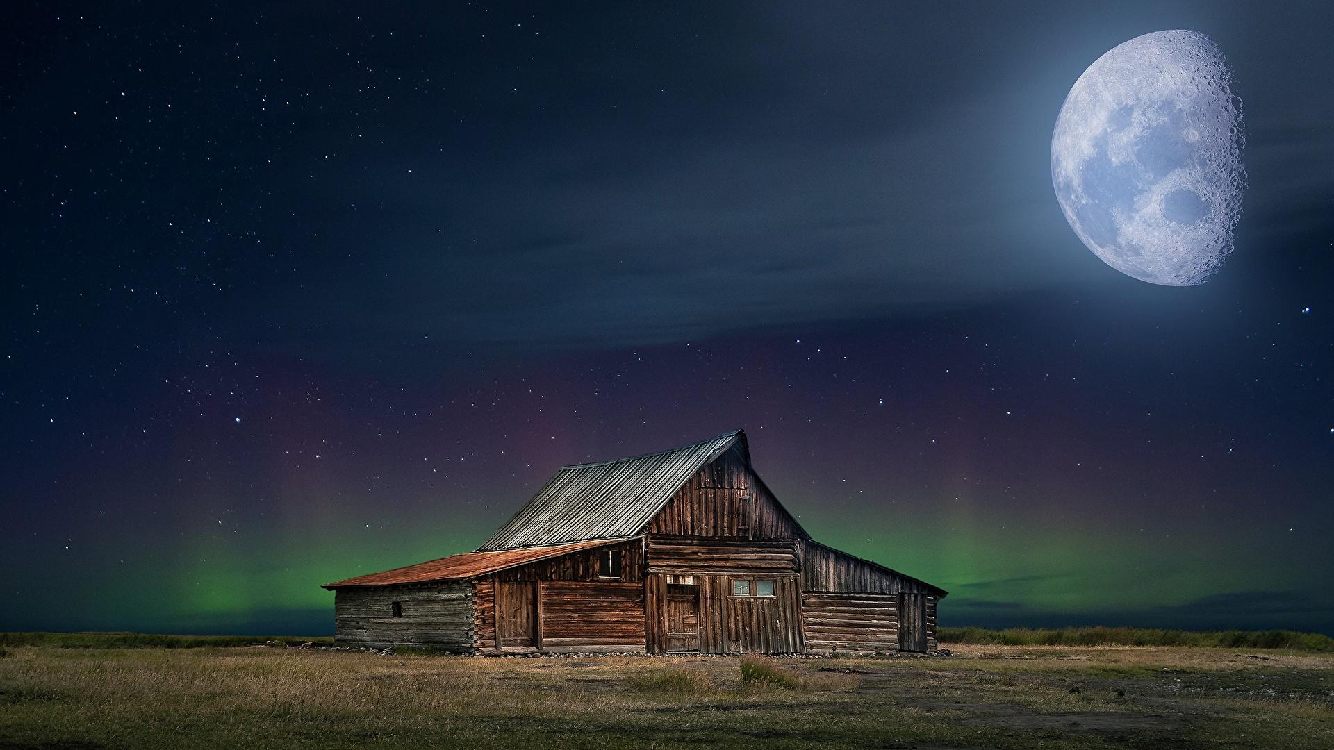 1920x1080 Casa Lua Noite De madeira Aurora polar Edifício Naturaleza
