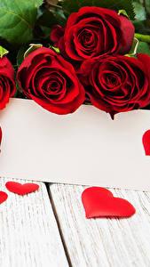 Hintergrundbilder Valentinstag Rosen Bretter Vorlage Grußkarte Rot Herz Blumen